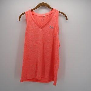 Under Armour Orange V-Neck Sleeveless Top Size M